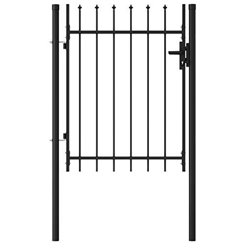 vidaXL Portillon Simple Porte avec Dessus à Pointe Portail de Jardin Porte de Jardin Barrière de Jardin Terrasse Patio Extérieur Acier 1×1,2 m Noir