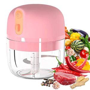 VOUM Mini Hachoir à ail électrique, trancheuse et Hachoir, Mini-Hachoir à l'ail Portable pour ail, légumes, Fruits, Viande, oignons (250 ML) (Pink)