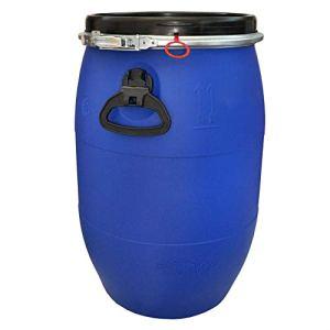 Wilai Tonneau avec couvercle de 60 litres en PEHD – Anneau de serrage galvanisé avec fermeture à levier extérieur – Autorisation des marchandises dangereuses