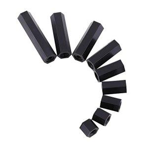 Xinrub 100 Pcs M3 Femelle Hex Fileté Entretoise Noir Nylon Hex entretoise Boulons Nuts Assortiment Ensemble Avec Boîte En Plastique(M3*10)