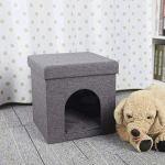 YWSZJ Tabouret -Dog Boîte en Bois Tabouret Stable Rest Cube Cave Animal Lin for Chien Et Chat avec Couverture Multifonctions Creative ménages