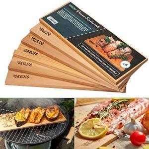 6x Planche a Griller | 37 x 14 x 1 cm Lot de 6 Planches à Fumer en Bois de Cèdre pour Barbecue | Arôme Authentique – Ustensiles Barbecue Disponible en 28 | 37 cm