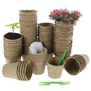 80Pcs 8CM Pots de Semis en Fibre Biodégradable avec 100 Etiquettes en Plastique et Transplanteurs Pots de Graines Biodégradables pour Semis Fleur Graine Plantule Succulentes