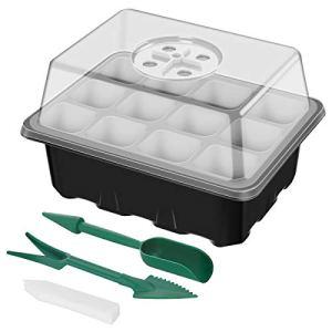 ANBET 5 Pack Ensemble de Plateau de Propagation de semences Kit de Plateau de démarrage de Plante avec dôme d'humidité réglable pour la Germination, Croissance en Serre (12 cellules par Plateau)