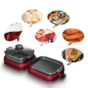 BDHBB Teppanyaki Grills, Grils électriques Korean BBQ Grill, Grill électrique Portable avec 1 Mini casseroles, ustensiles de Cuisson antiadhésives Multifonctions,Square Pot