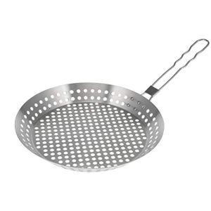 bremermann Poêle à griller ronde // avec poignée rabattable // acier inoxydable env. Ø 28 x 7 x 51,5 cm // Grille de barbecue