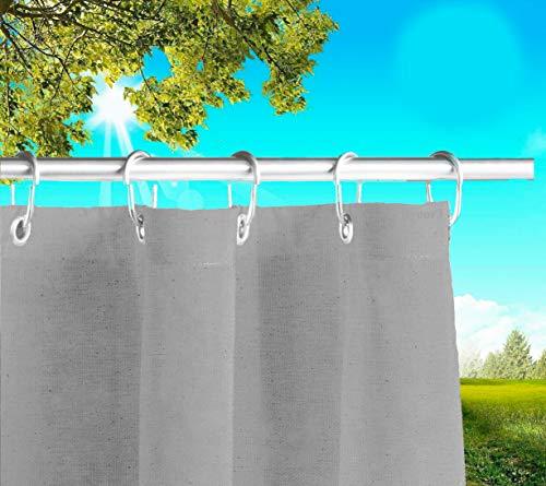 Byour3®️ Rideau Extérieur Imperméable avec Oeillets Rideaux de Soleil pour Balcon Pergola Patio Tissu Coton doux résistant aux taches pour patio Ombrage anti-moisissure (Gris Acier, L 145cm x H 280cm)