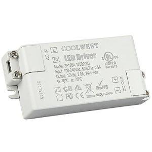COOLWEST LED Transformateur 24W Driver 12V DC Convertisseur Transfo Alimentation pour G4 GU10 MR11 MR16 Rubans