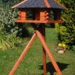 Deko-Shop-Hannusch Mangeoire à oiseaux stable en bois enduit et sur pieds Toit recouvert de crépi