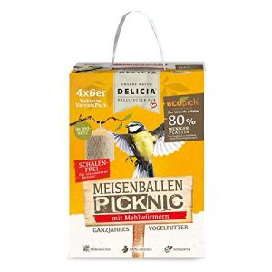 Delicia Picknic Lot de 24 boules de mésange en filet biologique