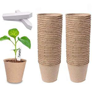 Dsaren 100 PCS 8 cm Pots Semis Biodégradables Rond Pot Fibre avec 100 Pcs Étiquettes Plantes pour Planter de Succulentes Fleurs Plantes Herbacées Légumes (100 Pcs)