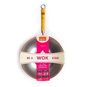 école de Wok Wok Star Wok en Acier Carbone, Argent, 30,5cm
