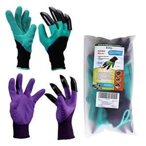 Eiito Garden Lot de 2 paires de gants de jardinage Vert et Violet 4 griffes faciles à creuser