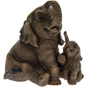 Figurine d'éléphant assis avec éléphanteau – Out of Africa – Décoration contemporaine – Boîte incluse