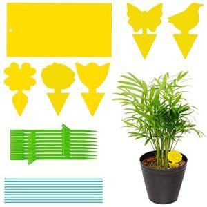 Funklu Lot de 100 autocollants jaunes – Piège à mouches – Piège à mouches – Piège à mouches – Pour nématodes contre les moustiques