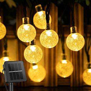 Guirlande solaire d'extérieur à LED solaire avec boules en cristal étanche 23FT 50 LED 8 modes d'éclairage pour jardin, terrasse, arbres, mariage, fête (blanc chaud)