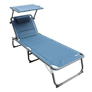 Homecall Chaise longue avec pare-soleil intégré et mousse à séchage rapide, formatXXL, 200x70cm (Bleu)
