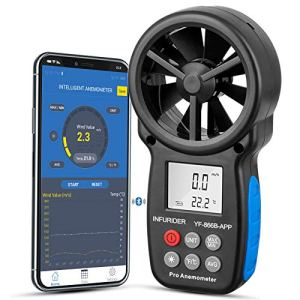 INFURIDER YF-866B APP Anémomètre numérique sans fil connect APP via Bluetooth, jauge de compteur de vitesse du vent portable pour mesurer la vitesse / température du vent et Max / Min / Moy