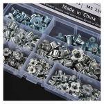 LDDJ Boulon 135pcs M3 / M4 / M5 / M6 / M8 Kit d'assainissement en Acier au Carbone à Quatre Griffes pour Meubles Cabinet Connection de Porte Matériel en métal