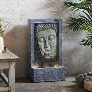 Lights4fun Fontaine de Jardin Bouddha avec Eau et LED Blanc Chaud de 49,5cm pour Extérieur