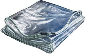 Mdtep Bâche de protection imperméable à l'eau transparente PVC épaissir rideau balcon plastique bâche de protection contre la pluie douce pluie soleil protection bâche avec oeillets 350gsm Plan étanch