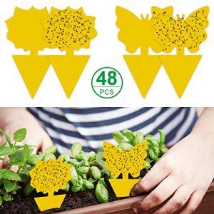 Mengxin 48Pcs Piège à Insectes Collants Autocollants Colle Double Face Étanche Jaunes Anti Moucherons Plantes Attrape Mouches Autocollants pour Jardin Plante Fleur Fruits