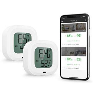 【New】ORIA Hygromètre à Thermomètre Bluetooth 5.0, 2pcs Contrôle App sans Fil Mètre de Moniteur d'Humidité Température Précis, Capteur Moniteur avec Ecran, Bouton, Alertes Funtion pour iOS/Android