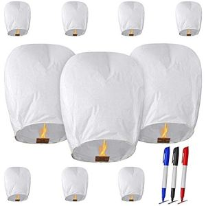 OTentW 10 PCS White Chinese Sky Lanterns Lanternes Chinoises Lanternes écologiques pour Les Mariages Célébrations Cérémonies commémoratives