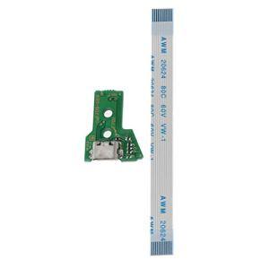qiuxiaoaa Remplacer la Carte de Port de Charge USB pour Le contrôleur Jds-055 Ps4 avec des Gadgets de câble Flex 12 Broches Vert