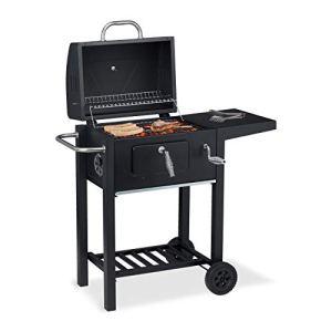 Relaxdays Barbecue en Charbon de Bois avec Couvercle et Support, Thermostat, Bol réglable en Hauteur, Noir