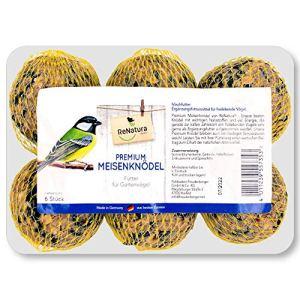 ReNatura® Lot de 6 boules de graisse de qualité supérieure avec filet de nourriture pour oiseaux
