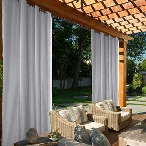 Rideaux d'extérieur Jardin Patio Rideau Occultant Étanche Coupe-vent Protection UV Résistant à la moisissure, rideaux à isolation thermique avec œillet (L 137 x H 243 cm, 2 Panneaux, Gris)