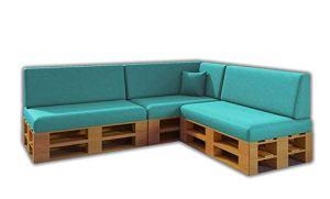 Saving Pack Lot de 8 Coussins pour canapés palettes / europalet 3 sièges + 3 dossiers + Coin + Coussin | Amovible | Intérieur et extérieur | Couleur Turquoise | Mousse Haute densité.