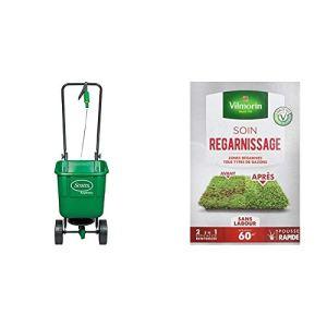 Scotts Easy Green Epandeur Gazon Rotatif & Vilmorin 4466314 Soins Regarnissage Universel 2-en-1, Vert, 1 kg