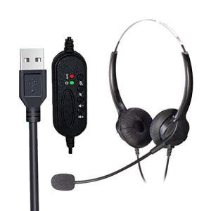 SHARRA Casque pour Ordinateur, Micro-Casques USB avec Microphone Casque téléphonique Filaire pour Centre d'appels pour Les Jeux, l'apprentissage en Ligne et la Musique