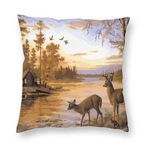 SUN DANCE Housse de coussin carrée décorative en velours motif cerf Safair dans ruisseau au au coucher du soleil 45,7 x 45,7 cm pour canapé, banc