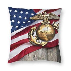 SUN DANCE Housse de coussin carrée en velours avec drapeau américain – 45,7 x 45,7 cm – Pour maison, canapé, banc