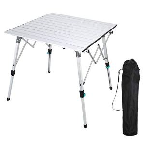 Synlyn Table pliante en aluminium, table de camping pliante, table pliante, table pliante avec sac, table de jardin réglable en hauteur, table multifonction pour 4 personnes, taille 70x70cm