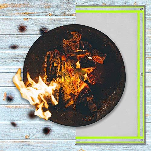Tapis de foyer carré, ignifuge   550 ° résistant à la chaleur, tapis de braise et tapis de barbecue, protégez votre terrasse, visible la nuit avec bande réfléchissante,59*59 inch /1.5*1.5 m