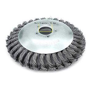 Tête de désherbage Fil d'acier, 6/8 Pouce Brosse rotative disque de pinceau à roue pour Outils de Pelouse Jardin Agriculture – Trou intérieur 25.4mm (6 Pouce)