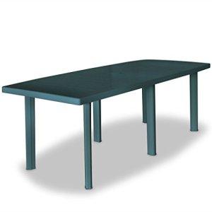 Tidyard Table de Jardin | Table d'extérieur en Plastique 210 x 96 x 72 cm Vert