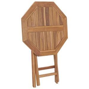 Tidyard Table Pliable de Jardin/Table Bois de Teck Solide 60 x 60 x 75 cm (L x l x H) Polygone
