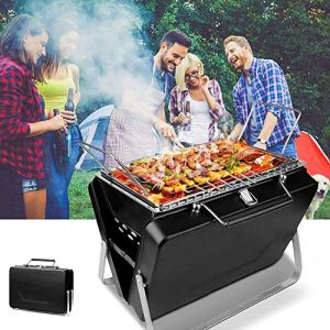 TTLIFE Portable Barbecue Charbon de Bois BBQ Grille Mini Pliable Inoxydable Charcoal Barbecue pour 3-5 Personnels BBQ Grill pour Barbecue,fête,Pique-Nique,Table de Camping (30,5*8*20 cm)