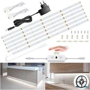 Ustellar Ruban LED Blanc 6m 6000K avec Capteur de movement pour Placard, Eclairage Dimmable Sous Meuble Cuisine avec 10 Niveaux de Luminosité Réglable, Bande Lumineux Adhésif,1800lm, 12V Blanc Froid
