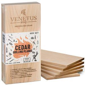 VENETUS-BBQ Planches XL – Planche à barbecue en bois de cèdre canadien (lot de 6)