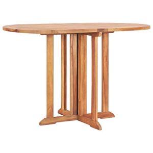 vidaXL Bois Teck Solide Table Pliable de Jardin Papillon Table Pliable de Patio Table Pliable de Terrasse Table Pliable d'Extérieur 120x70x75 cm