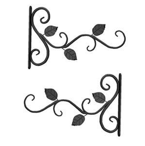 2pcs paniers suspendus Supports métalliques crochets muraux Plante suspendus Supports Mounted crochets avec des feuilles de fer pour accrocher Planteur Lantern Mangeoire Wind Chimes extérieur Jardin