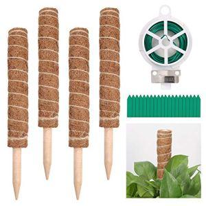 4Pcs 15.7 Pouce Bâton de Coco Tuteur Plante,Support pour Plantes Grimpantes,Bâton de Totem de Mousse de Coco, avec Attaches de Jardin et Etiquettes pour Plante, Extension de Support Plante Grimpante