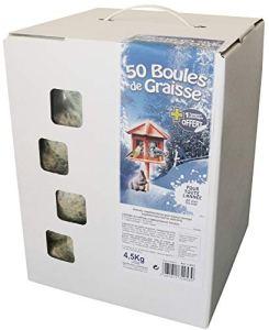 AIME Boule de Graisse, Alimentation idéale pour Oiseaux du Ciel, Carton 50 Boules de Graisses 4.5KG