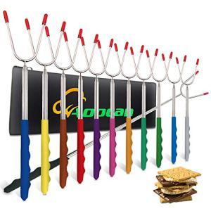 Aoocan Lot de 12 bâtonnets de rôtir pour guimauve en acier inoxydable pour foyer, fourche télescopique, hot-dog, feu de camp, camping – Multicolore